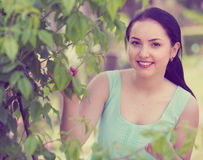 Spring positive smiling young female portrait in garden Stock Photography