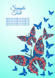 Spring postcard, cover, bright background for inscriptions. Butterflies fly upward. Cute pattern in blue Stock Photography
