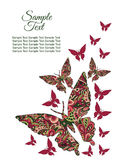 Spring postcard, cover, bright background for inscriptions. Butterflies fly upward. Cute pattern in green and red Stock Photography