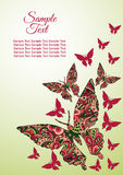 Spring postcard, cover, bright background for inscriptions. Butterflies fly upward. Cute pattern in green and red colors Royalty Free Stock Photos
