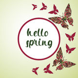 Spring postcard, cover, bright background for inscriptions. Hello Spring. Butterflies pattern in green and red tones Royalty Free Stock Photography