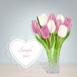 Spring postcard tulips and tag for text. Pink and white tulips. Frame for text. Light pink background. The template for the congratulations for the various Royalty Free Stock Images