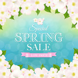Spring Poster With Apple Tree Flowers Stock Image