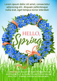 Spring poster holiday crocus flowers vector wreath Stock Photos