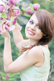 Spring potrait of a young woman Stock Photography