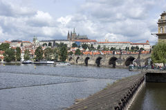 Spring Prague gothic Castle with the Charles Bridge Royalty Free Stock Image
