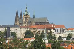 Spring Prague gothic Castle with the Lesser Town above River Vltava in the sunny Day, Czech Republic. Spring Prague gothic Castle with the Lesser Town above Royalty Free Stock Photography