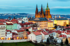 Spring Prague panorama from Prague Hill with Prague Castle, Vlta. Va river and historical architecture. Concept of Europe travel, sightseeing and tourism Stock Photos