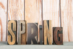 Spring in print letters Stock Photography
