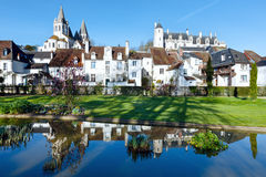 The spring public park in Loches town (France) Stock Photo