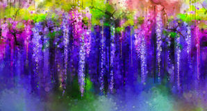 Spring Purple Flowers Wisteria.Watercolor Painting Royalty Free Stock Photos
