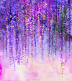Spring purple flowers Wisteria.Watercolor painting Stock Image