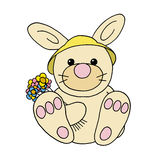 Spring rabbit. Colour line cartoon drawing of a rabbit with a bunch of spring flowers Royalty Free Stock Image