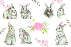 Spring rabbit collection clipart Happy Easter cute bunny animals set