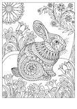 Spring rabbit coloring page for adult and children Stock Image