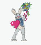 Spring rabbit in love drawing Royalty Free Stock Photo