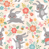 Spring rabbits pattern. Spring floral pattern with cute rabbits Royalty Free Stock Photos