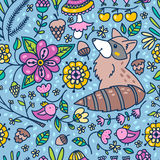 Spring raccoon forest pattern Stock Image