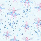 Spring Rain Flower Pattern Stock Images
