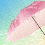 The spring rain. Illustration with open umbrella under spring heavy rain against festive light background royalty free illustration