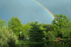 Spring rainbow. Rainbow over Bottle Creek Retreat, Beatrice, Nebraska Royalty Free Stock Photos