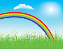 Spring rainbow. Vector - colorful spring rainbow in a meadow with fresh green grass Stock Image