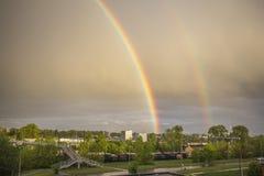 Spring rainbow after big rain Royalty Free Stock Photography