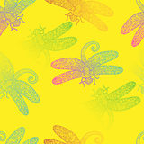 Spring rainbow dragonfly texture design vector pattern Stock Photo