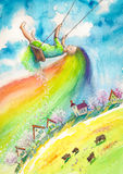 Spring. With rainbow hair swinging above village.Picture created with watercolors Royalty Free Stock Image