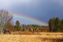 Spring rainbow. Rainbow invites - nature's time to wake up Finland. Juva. Järvenp Stock Photography