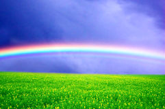 Spring rainbow landscape Stock Photography