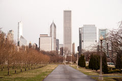 Spring Rains Grant Park Downtown City Center Chicago Illinois Stock Images