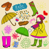 Spring rainy elements and girl in color Royalty Free Stock Photos