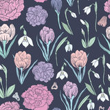 Spring Rampage seamless  patter. Beautiful romantic snowdrop, peony and crocus for textile, scrapbook paper, stationary or web Royalty Free Stock Photo