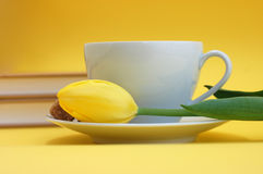 Spring Reading. Yellow tulip and a cup of tea with two books in the background Royalty Free Stock Photo