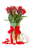 Spring red tulip flowers in vase with hearts Royalty Free Stock Photo