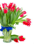 Spring red tulips in vase Stock Photo
