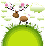 Spring reindeer . Vector Illustration Royalty Free Stock Image