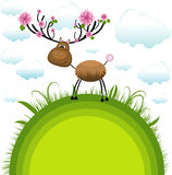 Spring reindeer . Vector Illustration Stock Images