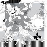 Spring retro floral print. Silk scarf  graphics. Stock Photo