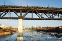 Spring river and bridge royalty free stock photos