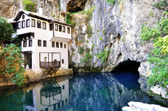 Spring of river Buna - Blagaj. And Dervish house Royalty Free Stock Images
