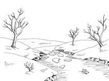 Spring river graphic black white landscape sketch illustration Stock Images