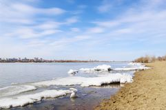 Spring on river Irtysh. Omsk, Russia. Royalty Free Stock Photography