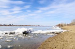 Spring on river Irtysh. Omsk, Russia. Spring landscape  with  debacle on river Irtysh. Omsk, Russia Royalty Free Stock Images