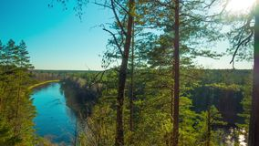 Spring River and sun, panoramic time-lapse. Spring River and sun, panoramic time - lapse stock video