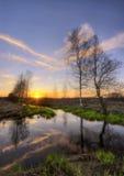 Spring river sunset Stock Photo
