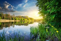 Spring river at sunset Royalty Free Stock Photos