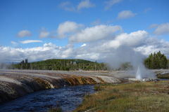 Spring and river in Yellowstone National Park. Wyoming Stock Photos