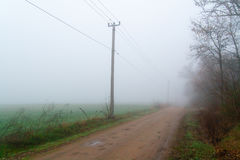 Spring road in the morning fog Royalty Free Stock Photos
